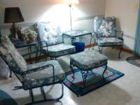 4 metal chairs plus cushions, foot stool, and 2 glass