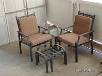 2 Wrought Iron Armed, Cushioned Chairs w/footstools and
