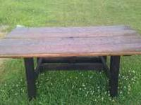 Heavy duty patio table, made from pine boards and