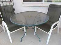 "42"" round glass-top patio table & 4 chairs for sale"