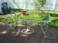 "Aluminum patio table without glass top (63""x36"") --"