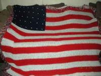 This is a beauthiful handmade crocheted American Flag
