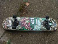 This is a great board. Barely used. Trucks are just a