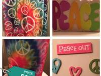 Peace bathroom set includes green rug, tooth Brush