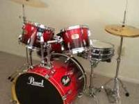 PEARL ELX EXPORT SERIES DRUM SET 5pc.W/HARDWARE &