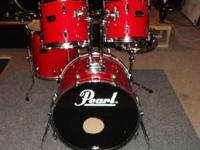 Pearl export series 5 piece candy apple red kit. 22