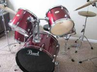 5-pc. Pearl Forum Series drum set. Dark red with
