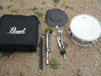 Pearl Snare drum with bag, stand, sticks, key and