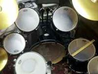 Eleven piece Pearl Vision Drum Set ALL BLACK with a