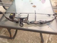 Pearson left handed bow with rest, sight and quiver.