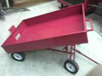Pedal tractor 4 wheel dump wagon. Made from steel. 30