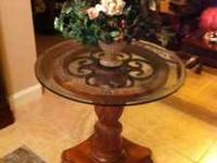 "32"" Glass Top Pedestal Table. Used in foyer of home."