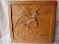 "Solid oak carving of a pegasus. 30""X29""  Location:"