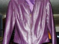 For Sale- Preowned Women's Leather Jacket - Color Plum