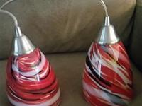Beautiful blown glass pendant lights, red, black and