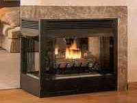 This vent-free peninsula style propane fireplace is in