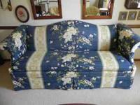 Beautiful blue sofa w/ floral print (matches table w/