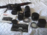 Pentax A3000 Camera and the following: Lenses: auto 2x