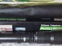 Pentax mount, telephoto lens. 500 mm, f/8.0. accessory