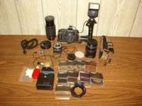 For sale, Pentax P3 SLR camera set, which includes a