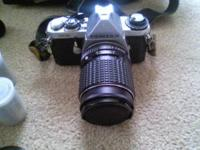 Camera, flash, film,case,Pentax 50mm lens,Vivitar 28mm