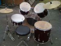 Percussion Plus Enforcer Drum Set, Featuring a full