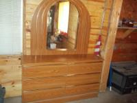 "nice 6 drawer with mirror dresser, dem. 15"" deep 74"""