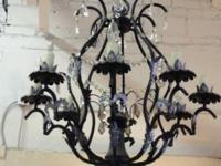 Perfect Black Eight Light Crystal Chandelier. $265