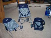 BLUE/GREY GRACO BABYDOLL STROLLER, BOUNCY SEAT, AND