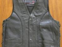 Men's Perforated Leather Vest with Side-lace and Black