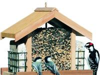 The Perky-Pet Deluxe Chalet Bird Feeder holds 2 types