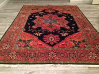 Beautiful Hand Knotted Persian Sarouk Rug 100% Wool