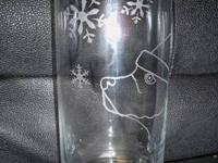 Glass etched pet-theme mugs, candle holders, drinking