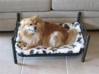 Wrought Iron Type Pet Bed Frame with soft cushion.