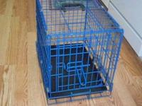 Metal Pet Crate 18 X 15 Color of crate is blue