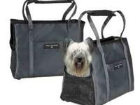 This stylish black small pet carrier is constructed in