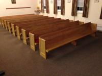 Strong wood benches from an old church that is being