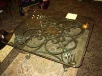 Heavy pewter/brushed silver metal base coffee table