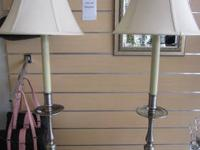 Beautiful pewter lamps with crme colored lamp shade.