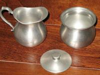 (set sold on ebay for $35) Elegant Pewter Sugar and