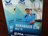 I am selling 2 Wanamaker tickets for PGA this Sunday.