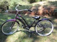 PHAT SPIN Women's Beach Cruiser. 3 Speed. Plum Purple