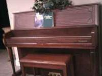 Samick studio piano. Beautiful walnut satin finish.