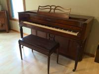 Baldwin Acrosonic spinet piano and bench for sale.
