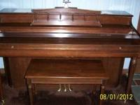 Whitney Kimball piano with matching bench (needs