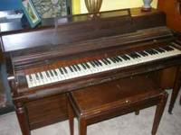 WURLITZER PIANO AND BENCH......CABINET NOT PERFECT, FEW