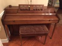 Wurlitzer Piano Ultra Spinet with stool in good