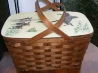 Beautiful basket/ Cooler with Canadian Geese on the