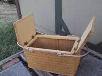 Large picnic basket, woven sides and top , left and
