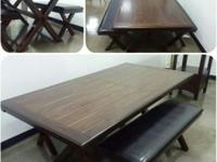 PICNIC STYLE DINING TABLE 1 TABLE AND 2 BENCHES $400